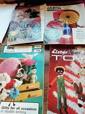 4 Vintage Knitting Pattern Booklets Toys Cushions Tea Cosies  Emu Argyll Lister
