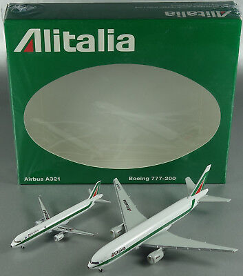 Herpa Airlinemodell 510356 Boeing 777-200 & Airbus A321 Alitalia Set 1/500