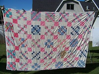 "Vintage Cotton Block quilt 62"" x 86"""