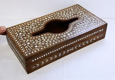 Superb Inlaid Vintage Wooden Tissue Box - Quality Hardwood, Beautifully Crafted