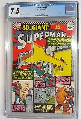 Superman #187 CGC 7.5  Off White to White pages 1966 DC Silver Age 80 Page Giant