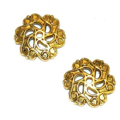 M5196 Antiqued Gold 12mm Open Scalloped Flower Metal Bead Caps 25pc