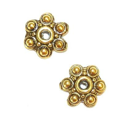 M5197 Antiqued Gold 10mm 6-Petal Scalloped Flower Metal Bead Caps 25pc