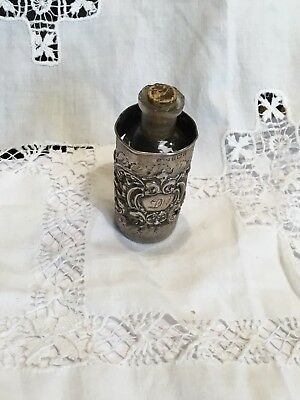 Antique Hallmarked Silver Perfume Bottle Sleeve /Cover Birmingham 1902