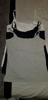 H&M mama maternity breastfeeding vest tops x3 white grey black size L large