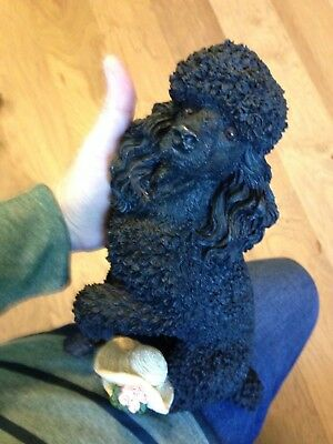 Beautiful Large Living Stone Black Poodle Dog Figurine/statue With Free Shipping