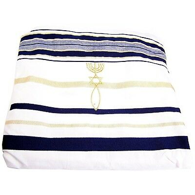 HolyLandMarket Mens Messianic Shawl / Tallit - The Messiah Tallit Navy Blue /