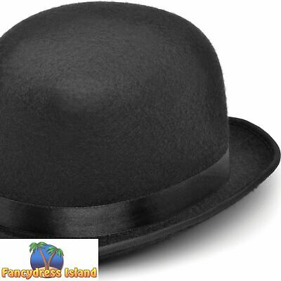 087aba1ddab BLACK FELT SMALL BOWLER OLD ENGLAND HAT Mens Fancy Dress Costume Accessory