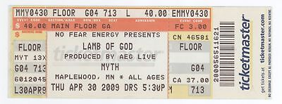 Rare LAMB OF GOD & THE MYTH 4/30/09 Maplewood MN Concert Ticket! St Paul