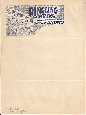 1910 Ringling Bros. World's Greatest Shows Illustrated Letterhead