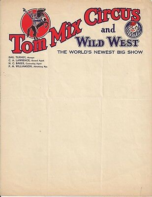 1930s Tom Mix Circus Color Illustrated Letterhead