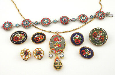 1940-70s - BEAUTIFUL LOT of VINTAGE MICRO-MOSAIC JEWELS - Italy