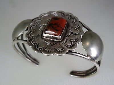 Old Navajo Stamped Sterling Silver & Squared Petrified Wood Bracelet