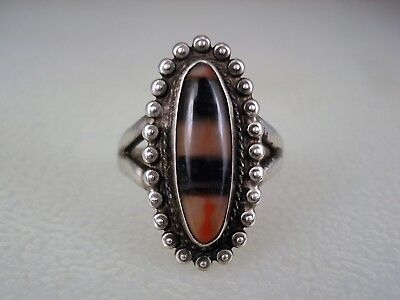 OLD Fred Harvey era NAVAJO STERLING SILVER & COLORFUL PETRIFIED WOOD RING size 8
