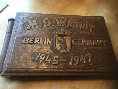 WWII US Carved Wood Photo Album , Named M.D. Wright , 82nd Airborne Medic