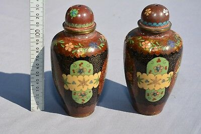 A pair of antique / vintage CLOISONNE jars and covers. 135mm high