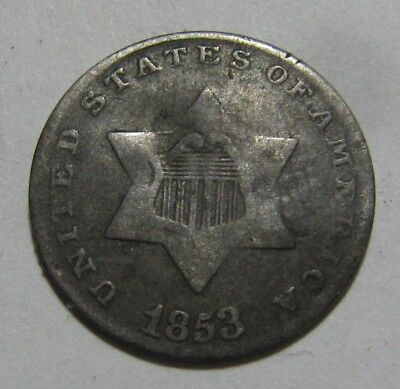 1853 Three Cent Silver - Circulated Condition - 116SA