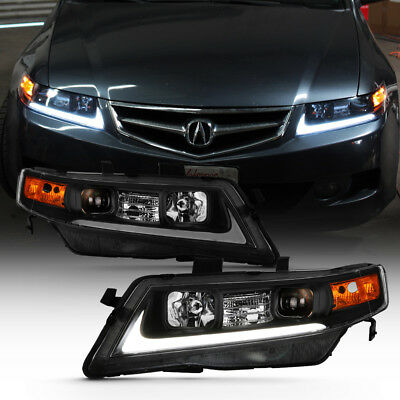 Black 2004 2008 Acura Tsx Cl9 Led Projector Headlights Headlamps Left Right