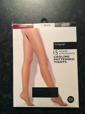 One pair of M&S Autograph Cooling Patterned Tights 15 Denier Large Black BNWT