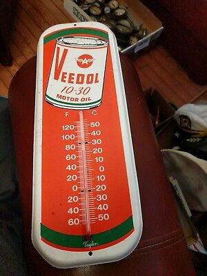 Veedol Flying A 10-30 Motor Oil Thermometer Sign Taylor brand man cave 16 inch