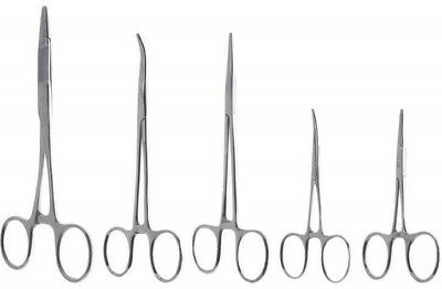 "5pc Hemostat Forcep Clamp Stainless Steel 3.5"" & 5"" Straight Curved 5.5"" Scissor"