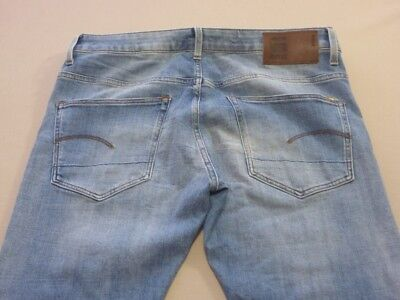 108 Mens Ex-Cond G-Star Raw 3301 Str8 Blue Stretch Jeans Sze 36 / 32 L $230 Rrp.