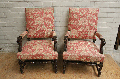Pair of Upholstered Antique French Renaissance Arm Chairs