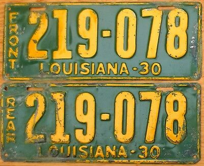 1930 Louisiana License Plate Number Tag Pair Plates