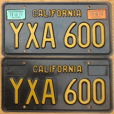 1970 1971 California License Plate Number Tag Pair – NICE PLATES
