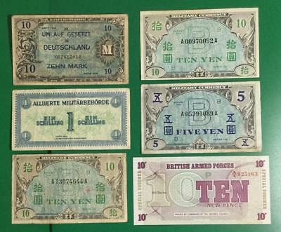 Allied Military Payment Certificates Set of 6 Different MPCs! War Time Currency!