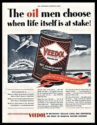 1933 VEEDOL Motor Oil PRINT AD w/ large image of oil can