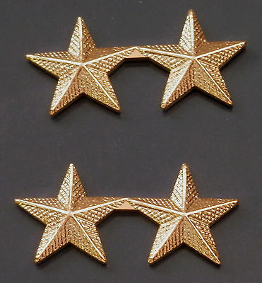 "Police Chief /Deputy 2 CORRUGATED stars 5/8""  Gold Pair Shoulder Rank Pins"