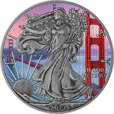 USA 2017 1 $ Liberty 1oz American Eagle Golden Gate Antique Finish Silver Coin