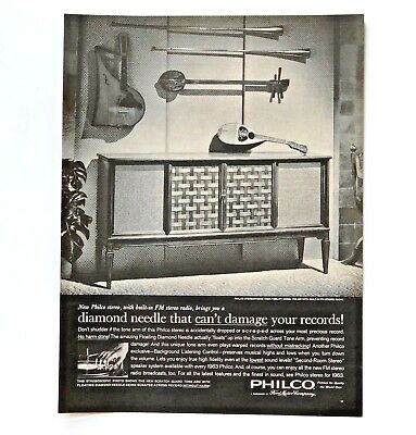 1962 Philco Stereo Advertisement Cabinet MCM FM Radio Records Print AD