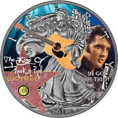 USA 2018 1$ Liberty Silver Eagle Elvis Presley 1oz Silver Antique Coin