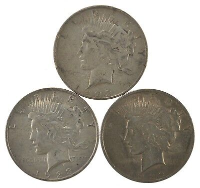 Lot of 3 1923 1923-D 1922 Peace Silver Dollars 90% Silver Coin Collection *515