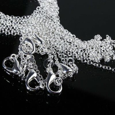 Lots 5PCS 925 Silver 1mm 16-24inch Cable Chain For Men Pendants Necklace Gift