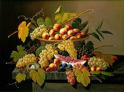 """oil painting handpainted on canvas """"Still Life with a Basket of Fruit""""@NO4932"""