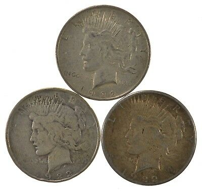 Lot of 3 1922-D 1922 1922-S Peace Silver Dollars 90% Silver Coin Collection *517