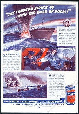 1941 HMS Rajputana ship sinking art Eveready flashlight battery vintage print ad