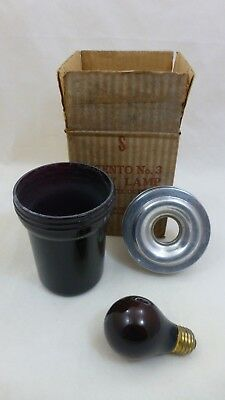 Vintage Ingento No.3 Darkroom Safety Light Ruby Lamp Shade Bulb Complete Outfit