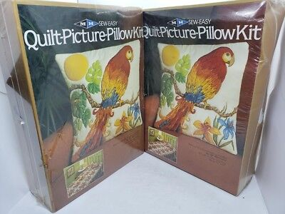 Set Lot of 2! MH PARROT Sew Easy Quilt Picture Pillow Craft Kits Vintage 1981