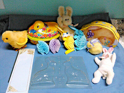Vtg 12 pc EASTER Lot~Boyds BUNNY~Wind Up CHICK~HONEYCOMB Rabbits~Tin~Candy MOLD
