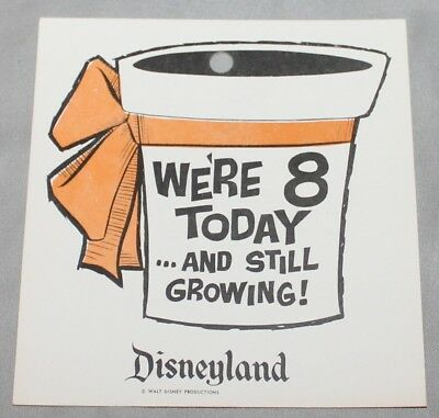 Rare Vintage Disneyland We're 8 Today And Still Growing Flower Hang Tag