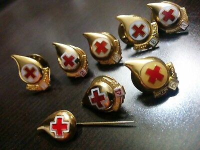 RED CROSS BLOOD DONOR PINS 2-3-4-5-6-7-8 GALLON plus another (8 Total)