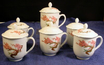 Vintage Set of 6 Chinese Hand Painted Tea Coffee Mugs Cups With Lids - Beautiful
