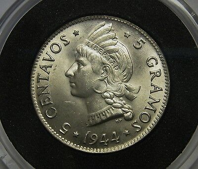 Gorgeous 1944 Dominican Republic Five 5 Silver Centavos Superb Gem BU NICE COIN