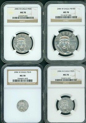 2006-W BURNISHED PLATINUM Eagles 4-COINS SET $100 $50 $25 $10 NGC MS70 MS-70 !!