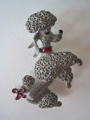 Vintage Gerry's Enamel Spaghetti Gray Poodle Dog Red Bow Pin Brooch Signed