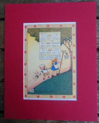 """Mary Engelbreit Print Matted 8 x 10"""" """"To Look Up and Not Down"""" Boy and Girl"""
